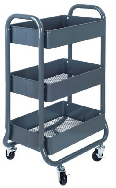 3Tier Rolling Cart Gray Room Essentials