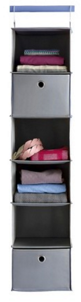 6-Shelf Hanging Closet Organizer Gray