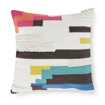 cream color block square throw pillow