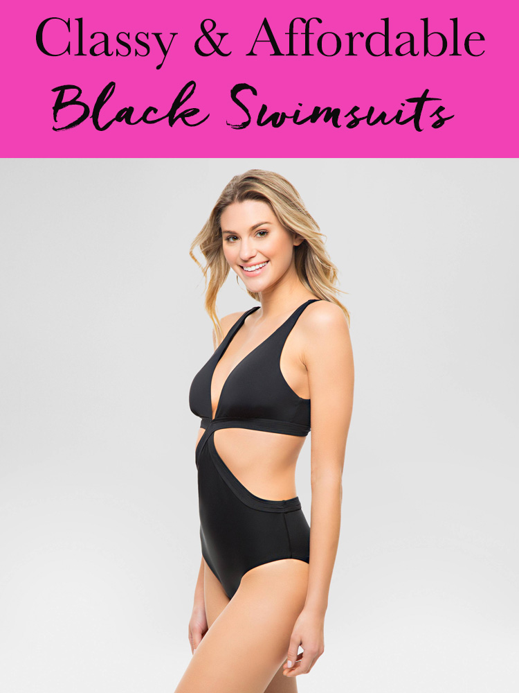 classy and affordable black swimsuits
