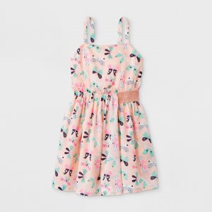 Girls' Butterfly Print Woven Dress - Cat & Jack™ Pink