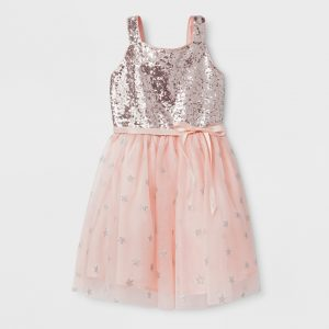 Girls' Sequin Bodice And Star Mesh Ballerina Dress - Cat & Jack™ Silver