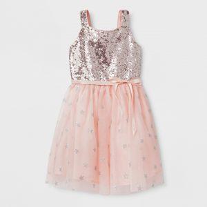 9c2ff0f893bd Girls' Sequin Bodice And Star Mesh Ballerina Dress - Cat & Jack™ Silver