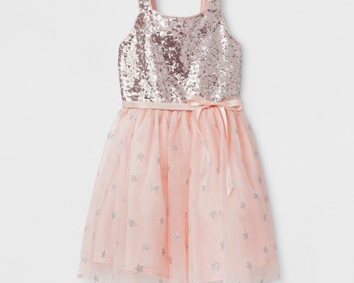 Girls' Sequin Bodice And Star Mesh Ballerina Dress - Cat & Jack™ Silver