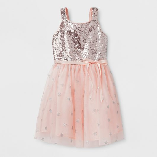 fdb25bd37e68 Girls' Sequin Bodice And Star Mesh Ballerina Dress - Cat & Jack™ Silver