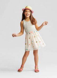 Sleeveless Sequin Dress With Tulle Skirt