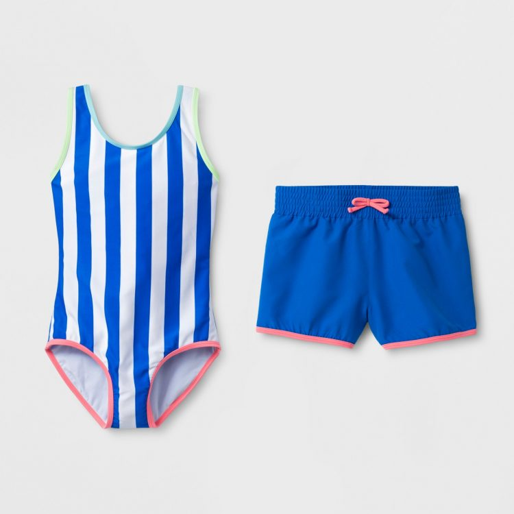 1ede74b27d We love this girls' swimsuit because it has matching stretchy shorts and  stays cozy all day long. Similarly, this boys' rash guard and matching swim  trunks ...
