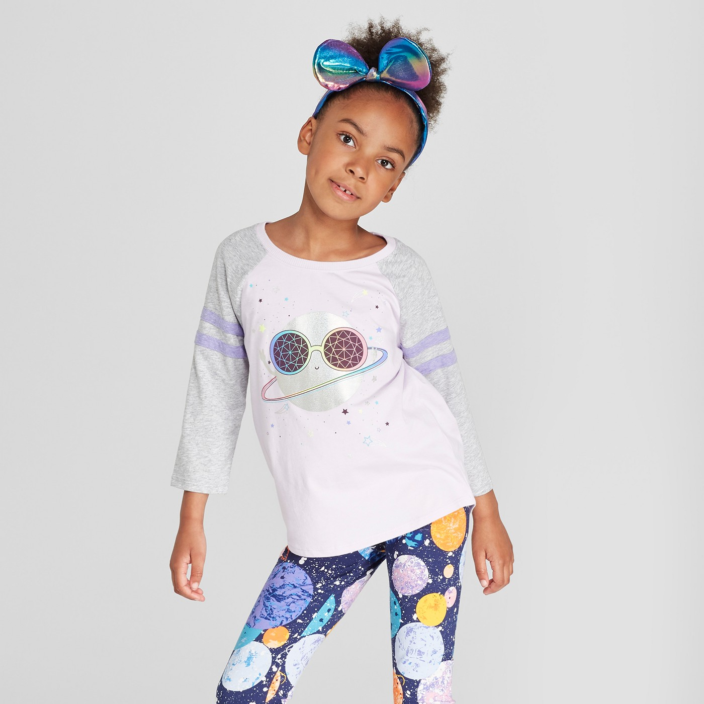 Girls' Planet Print Leggings - Cat & Jack™ Navy + Girls' Planet Baseball 3:4 Sleeve T-Shirt - Cat & Jack™ Purple