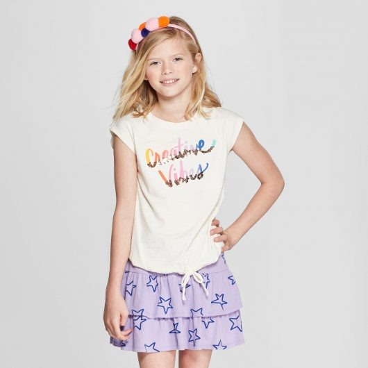 Girls' Sequin Creative Vibes Tie Front Cap Sleeve Graphic Top - Cat & Jack™ White + Girls' Scooter Skirt - Cat & Jack™ Violet