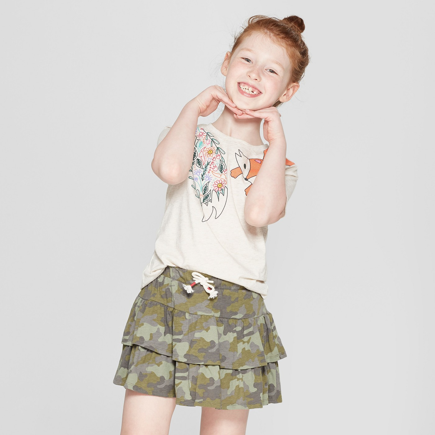 Girls' Short Sleeve Fox Graphic T-Shirt - Cat & Jack™ Ivory + Girls' Scooter Skirt - Cat & Jack™ Gray