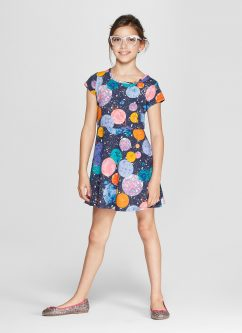 Girls' Short Sleeve Planets Dress - Cat & Jack™