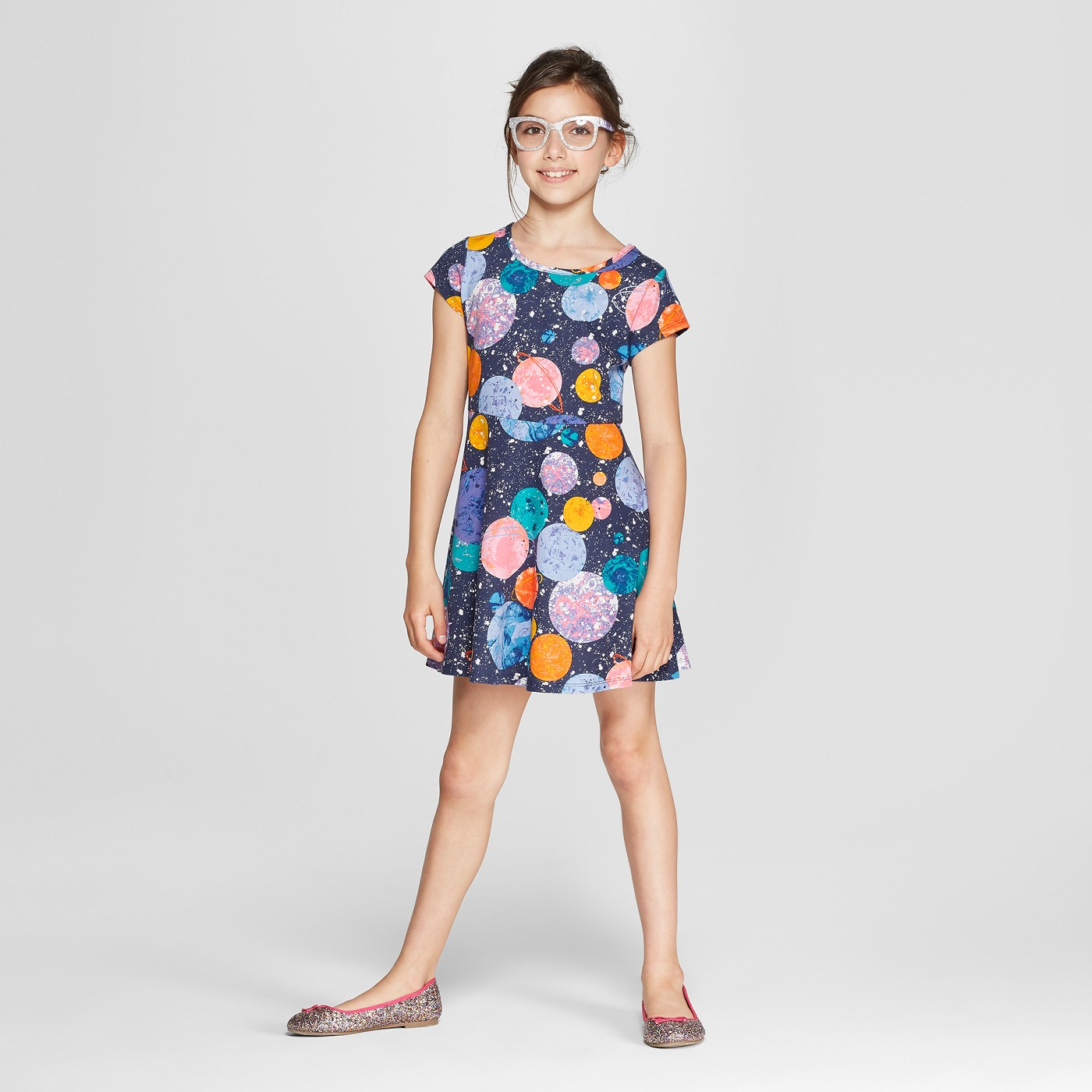 Girls' Short Sleeve Planets Dress - Cat & Jack™