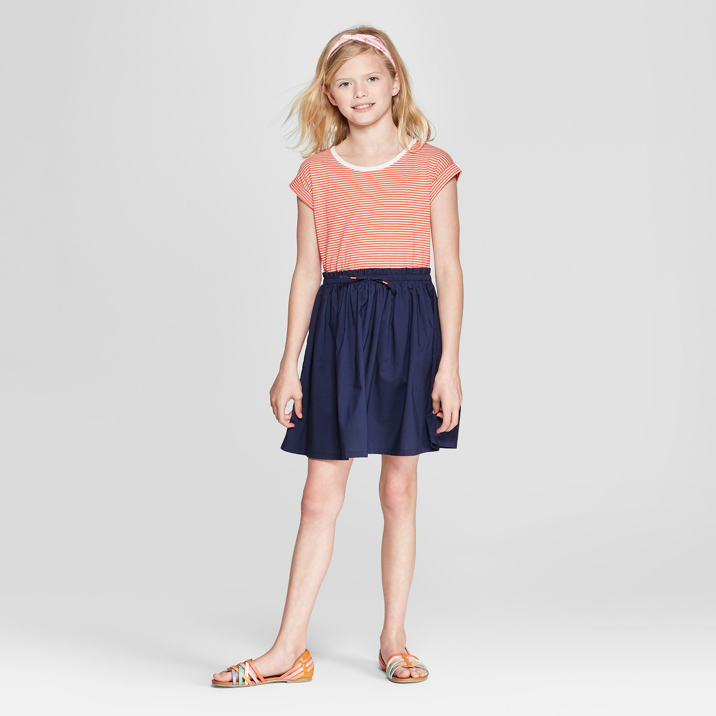Girls' Stripe Knit to Woven Dress - Cat & Jack™