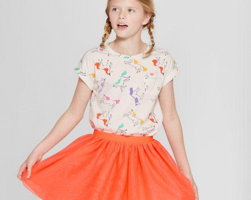 Girls' Unicorn Short Sleeve Pocket T-Shirt - Cat & Jack™ Cream + Girls' Tutu Skirt - Cat & Jack™